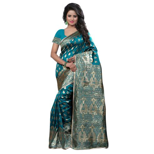 Exceptional Rama Colored Festive Wear Banarasi Silk Saree
