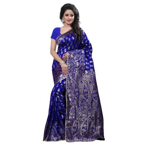 Impressive Blue Colored Festive Wear Banarasi Silk Saree