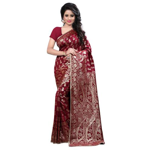 Dazzling Maroon Colored Festive Wear Banarasi Silk Saree