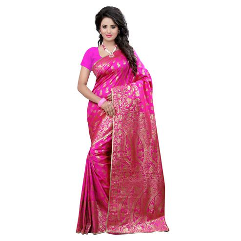 Amazing Pink Colored Festive Wear Banarasi Silk Saree