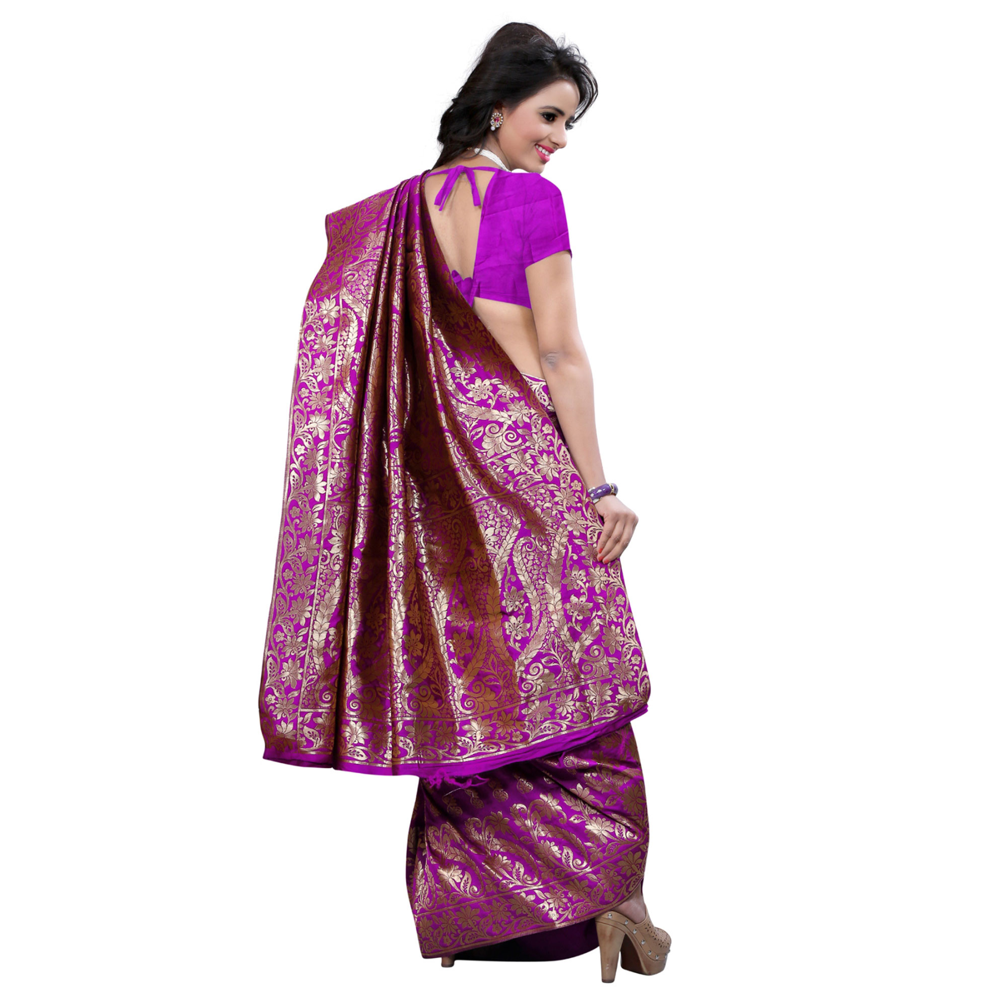 Flattering Purple Colored Festive Wear Banarasi Silk Saree