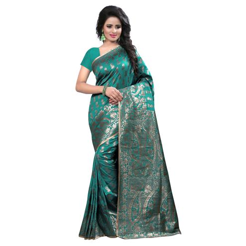 Excellent Rama Colored Festive Wear Banarasi Silk Saree