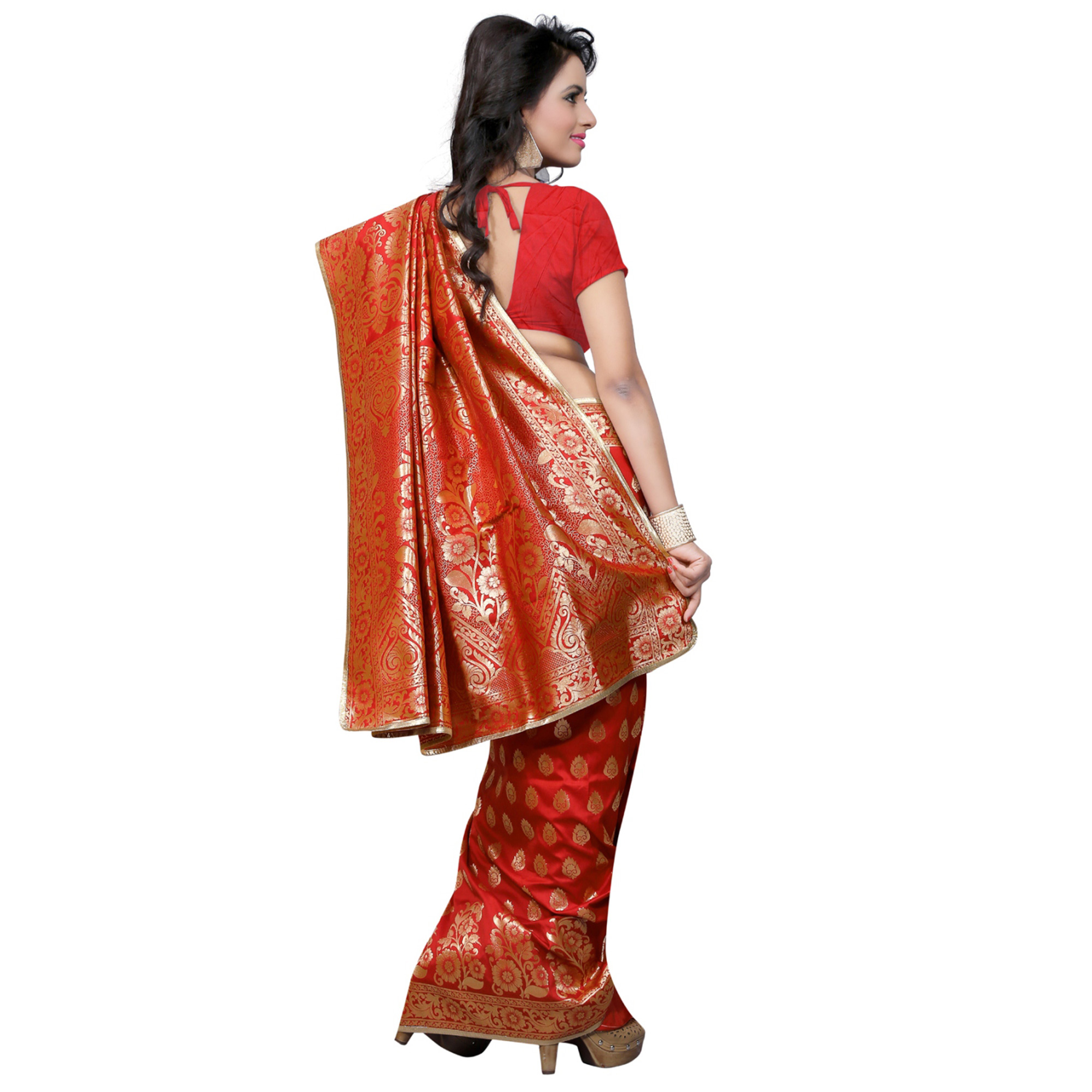 Gleaming Red Colored Festive Wear Banarasi Silk Saree