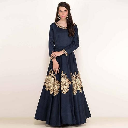 Impressive Navy Blue Colored Partywear Embroidered Tapeta Silk Gown