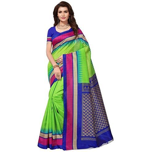 Glowing Green Colored Festive Wear Bhagalpuri Silk Saree