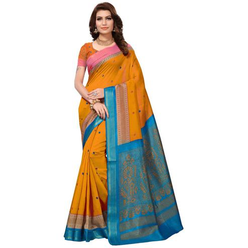 Blooming Yellow Colored Festive Wear Silk Saree