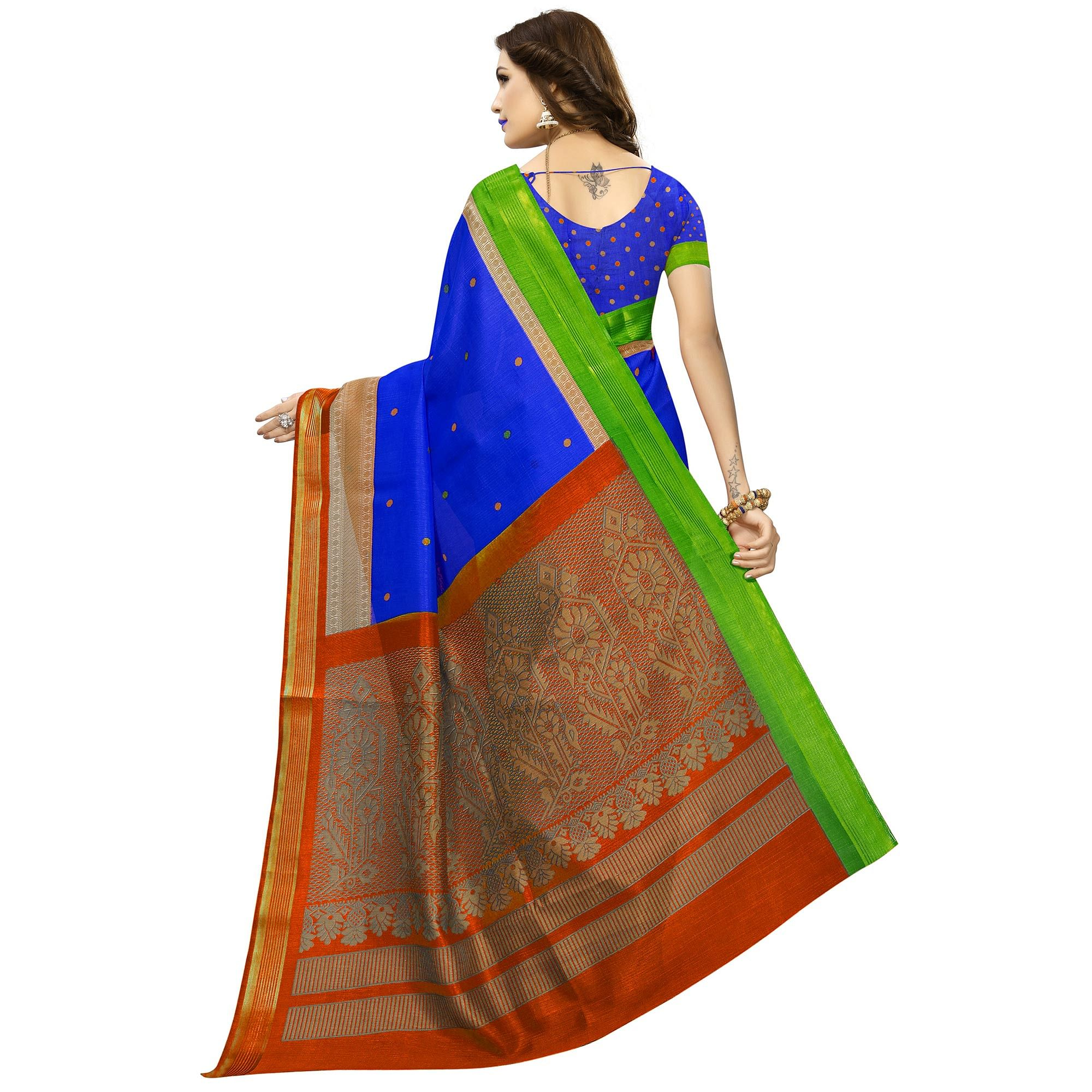 Impressive Blue Colored Festive Wear Silk Saree