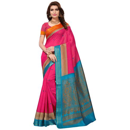 Majestic Pink Colored Festive Wear Silk Saree