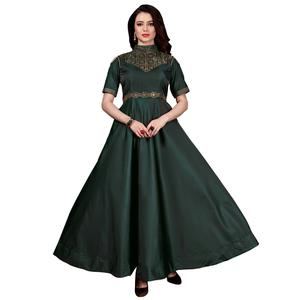Stylish Dark Green Colored Partywear Tapeta Satin Silk Gown
