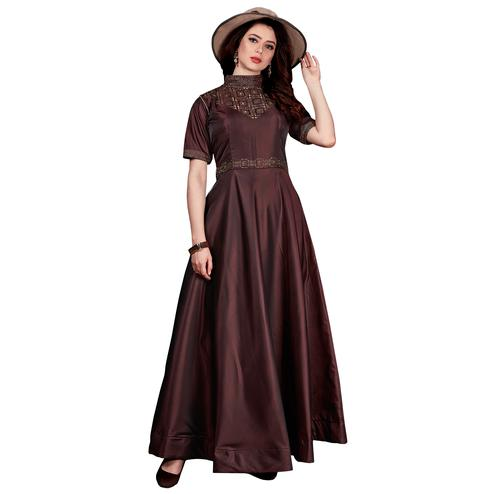 Classy Brown Colored Partywear Tapeta Satin Silk Gown