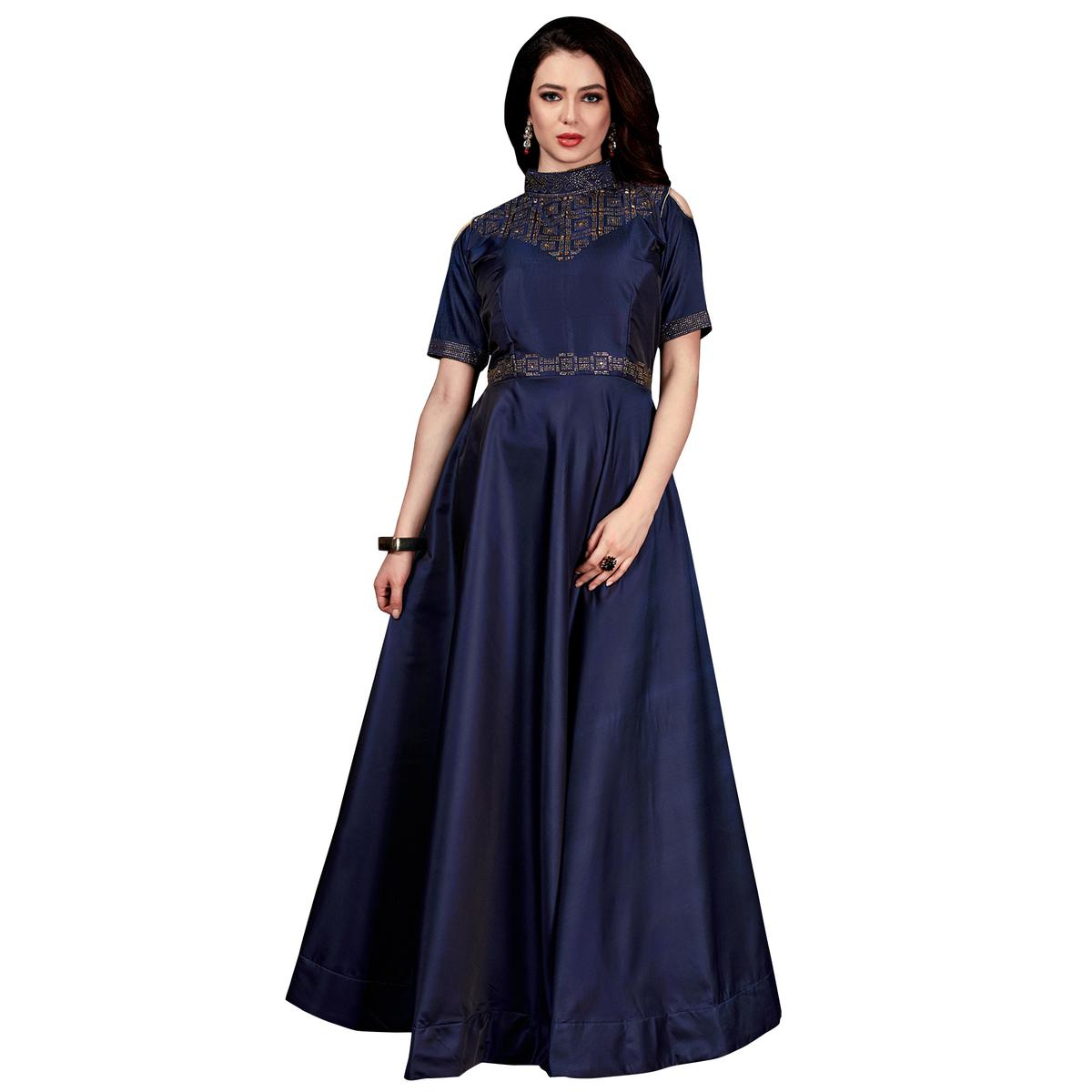 Groovy Navy Blue Colored Partywear Tapeta Satin Silk Gown