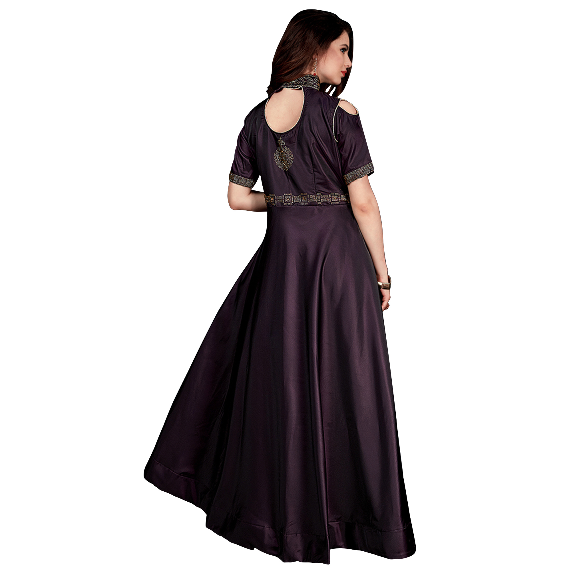Blooming Wine Colored Partywear Tapeta Satin Silk Gown