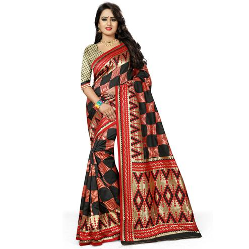 Beautiful Black-Red Colored Festive Wear Woven Banarasi Silk Saree