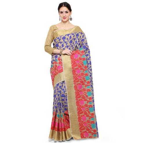 Adorning Beige Colored Festive Wear Woven Banarasi Silk Saree