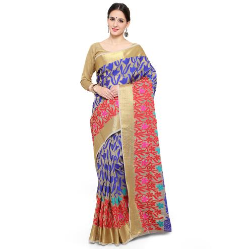 Pleasant Beige Colored Festive Wear Woven Banarasi Silk Saree