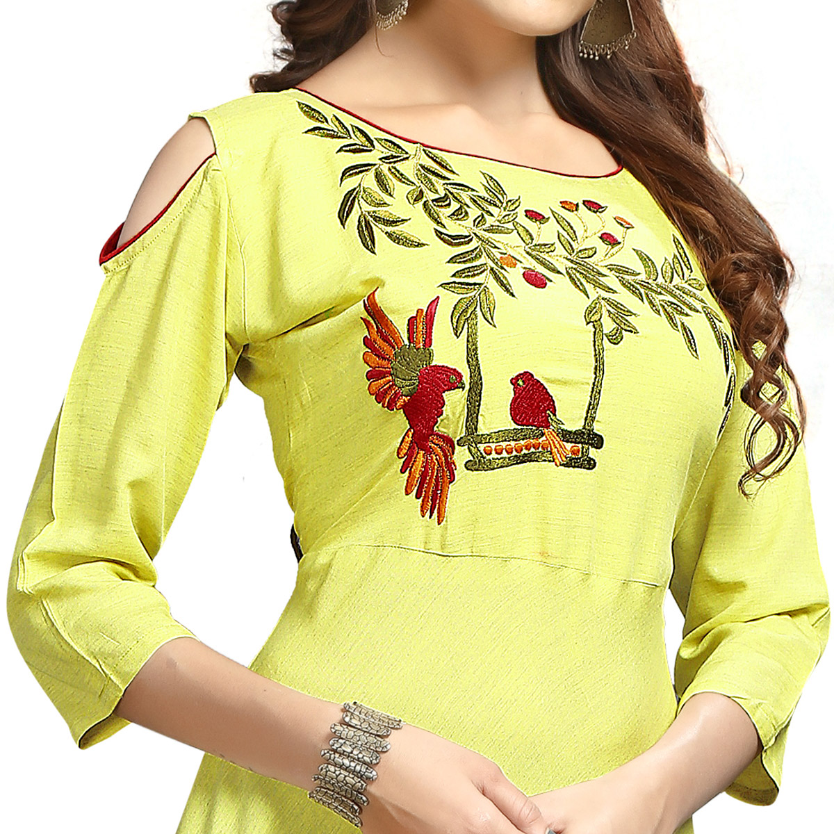Adorable Lemon Green Colored Party Wear Printed Rayon Long Kurti