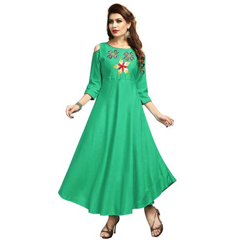 Amazing Green Colored Party Wear Printed Rayon Long Kurti