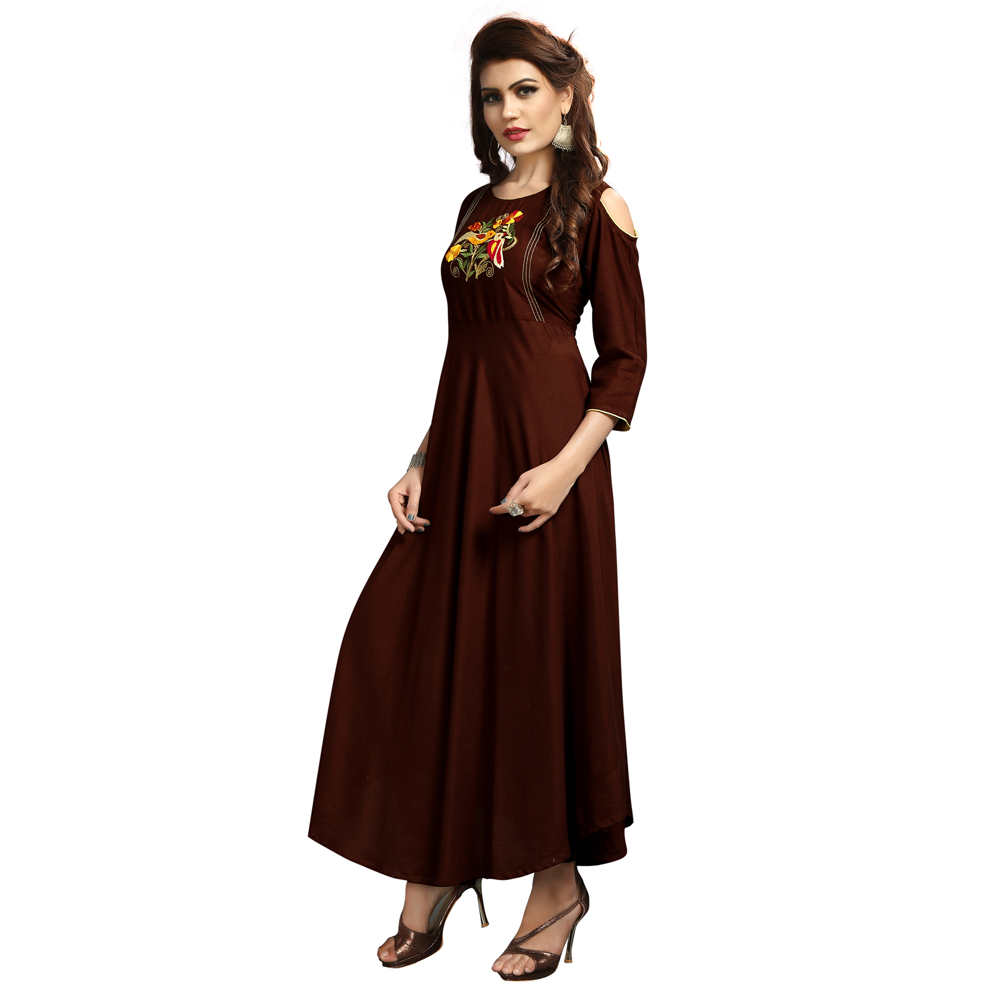 Elegant Brown Colored Party Wear Printed Rayon Long Kurti