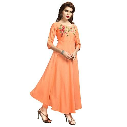 Precious Peach Colored Party Wear Printed Rayon Long Kurti