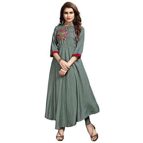 Stylish Grey Colored Party Wear Printed Rayon Long Kurti