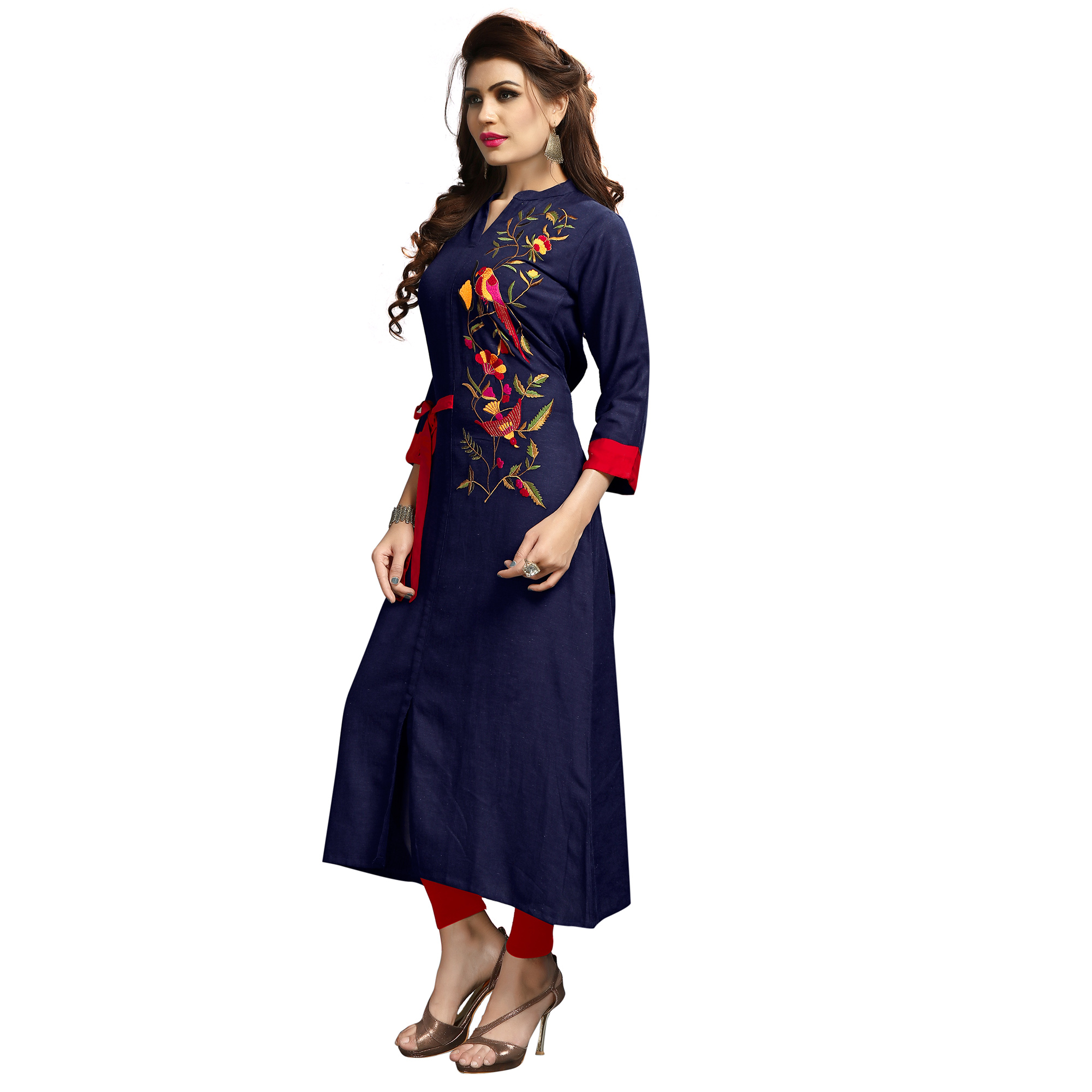 Pretty Blue Colored Party Wear Printed Rayon Long Kurti