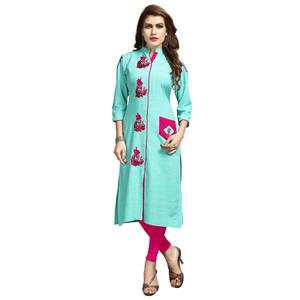 Refreshing Sky Blue Colored Party Wear Printed Rayon Long Kurti