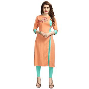 Adorning Peach Colored Party Wear Printed Rayon Long Kurti