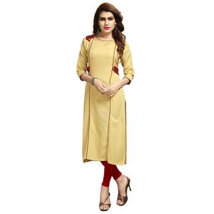 Refreshing Cream Colored Party Wear Printed Rayon Long Kurti