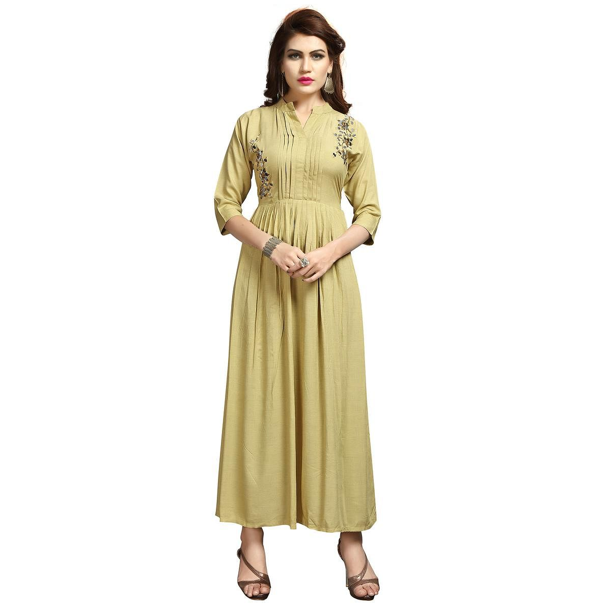 Classic Cream Colored Party Wear Printed Rayon Long Kurti