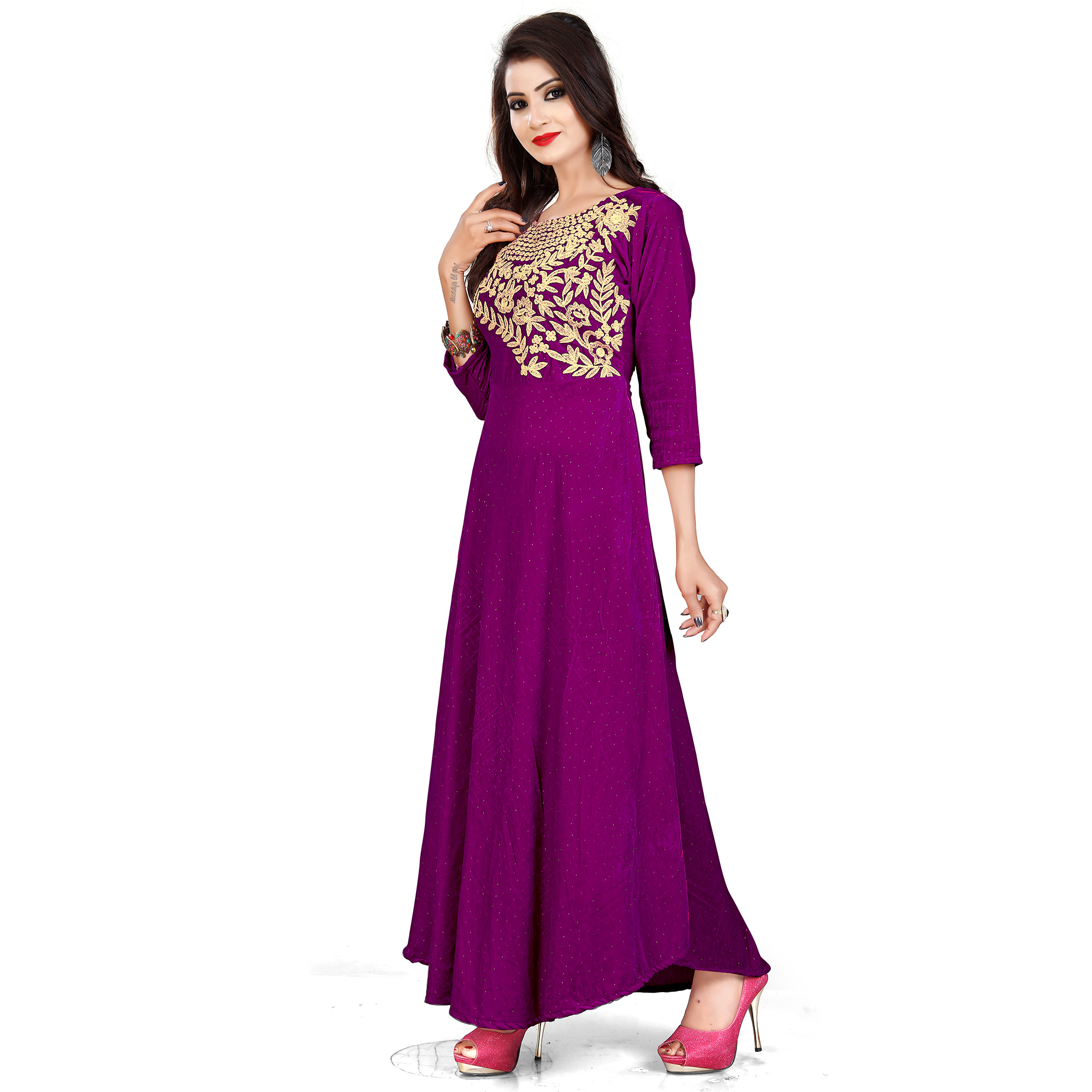 Gorgeous Violet Colored Party Wear Printed Rayon Long Kurti