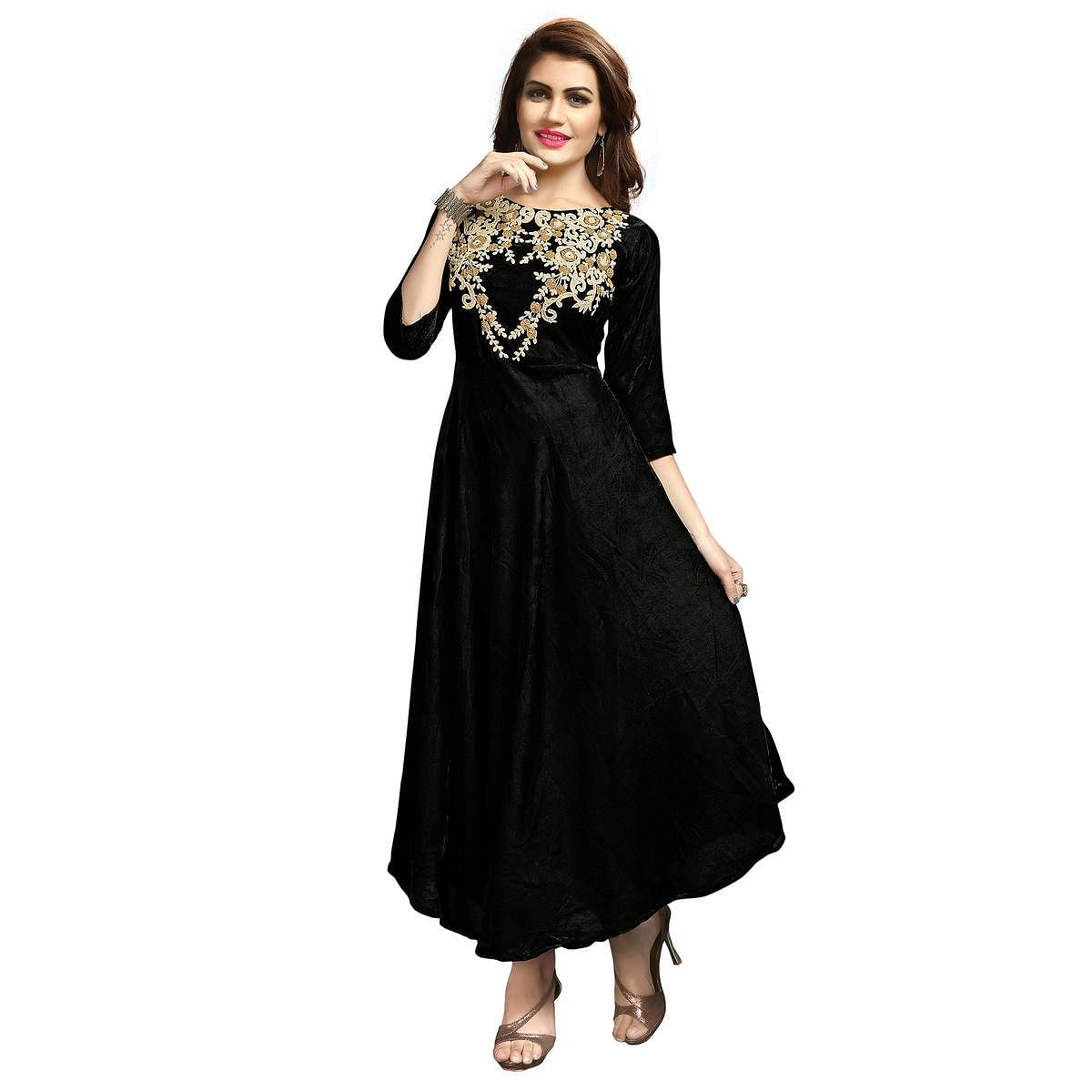 Attractive Black Colored Party Wear Printed Rayon Long Kurti