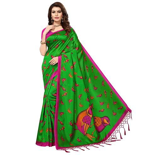 Adorning Green Colored Festive Wear Printed Mysore Art Silk Saree