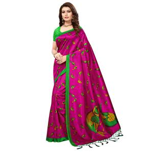 Pretty Pink Colored Festive Wear Printed Mysore Art Silk Saree