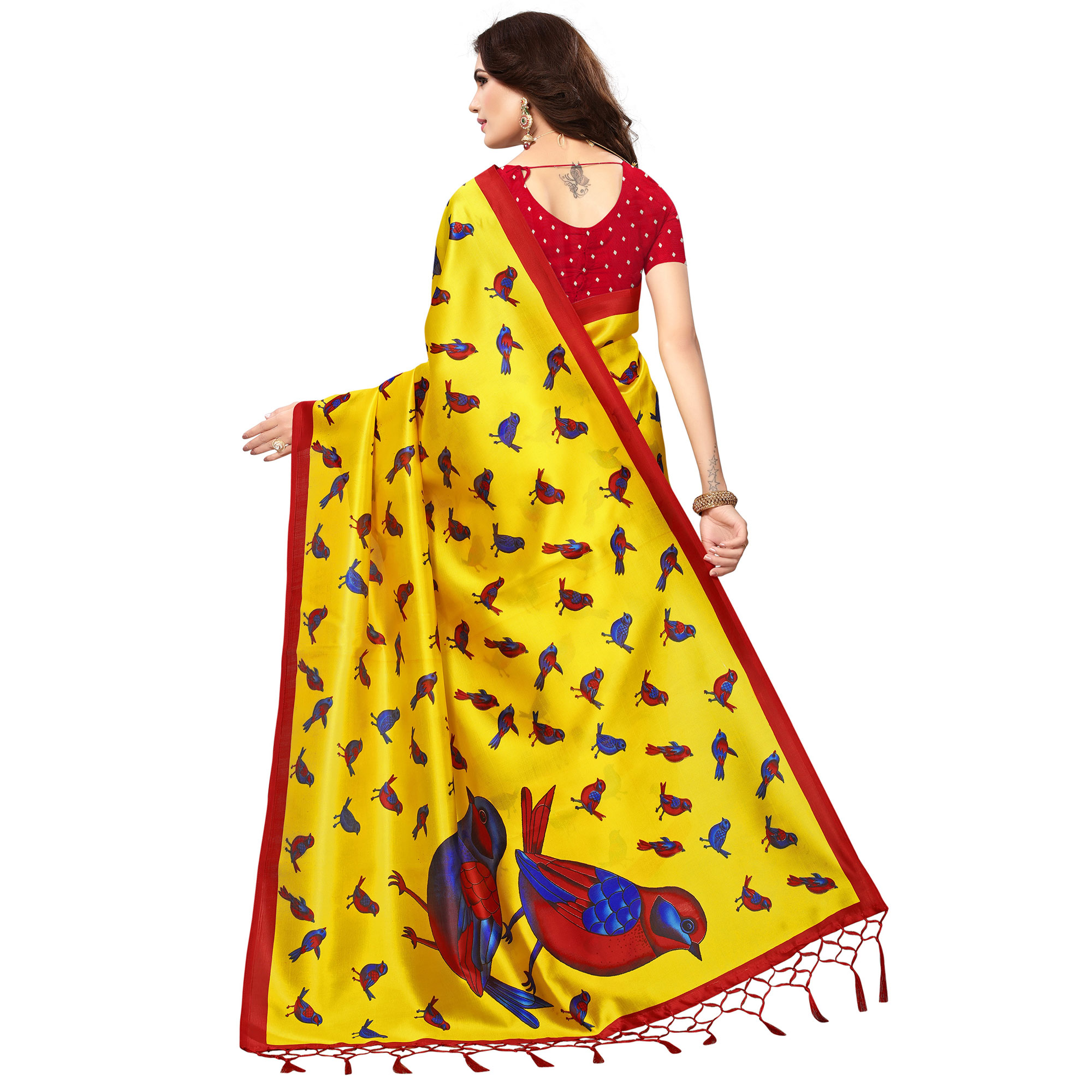 Glowing Yellow Colored Festive Wear Printed Mysore Art Silk Saree