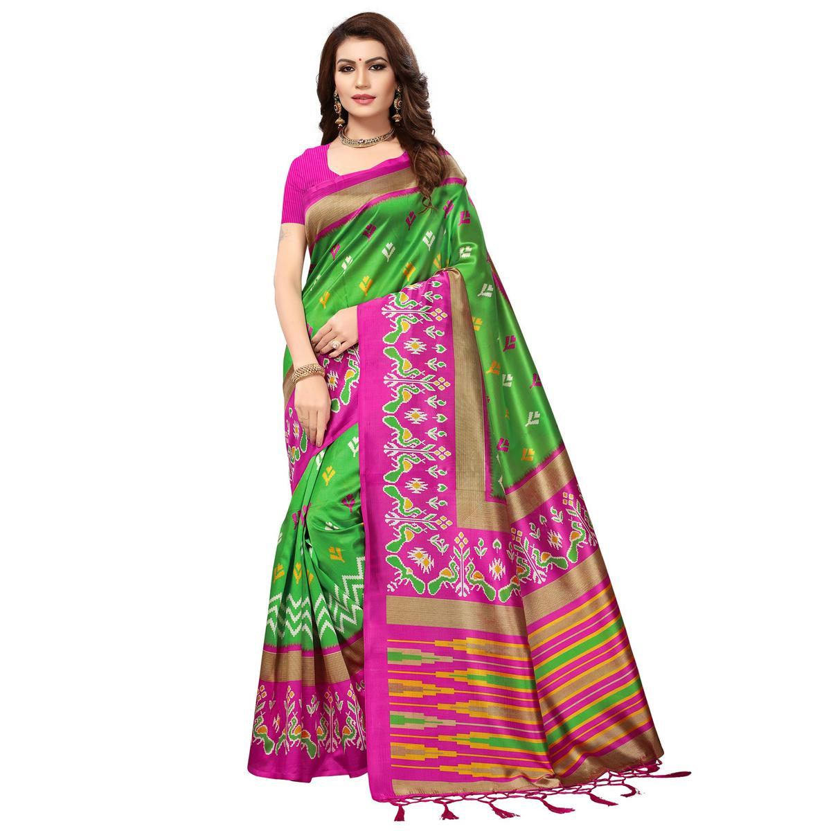 Impressive Green-Pink Colored Festive Wear Printed Mysore Art Silk Saree