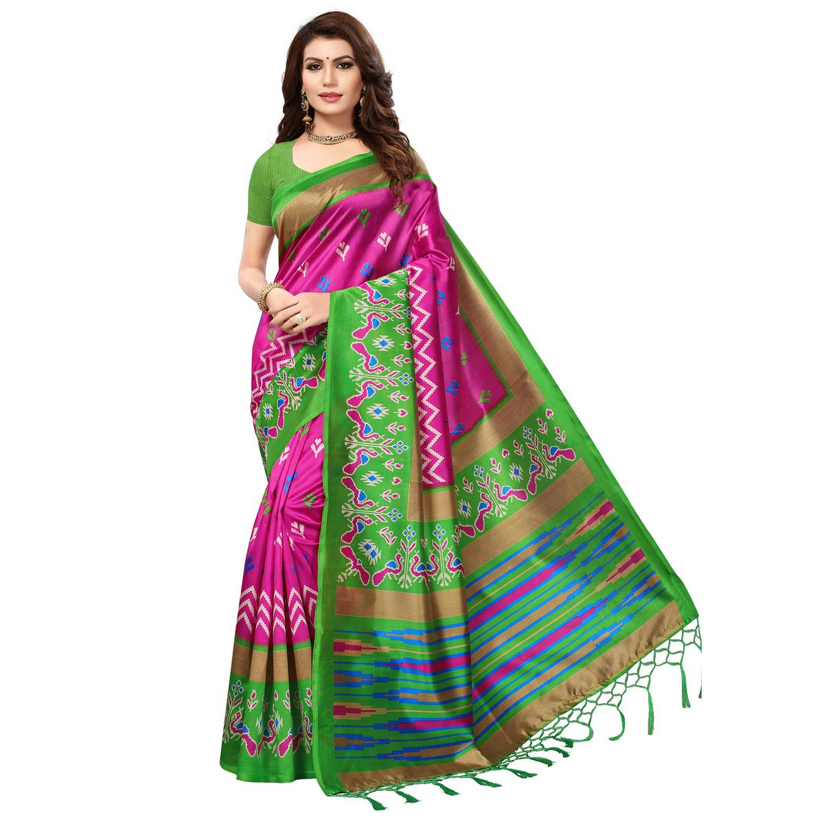 Charming Pink-Green Colored Festive Wear Printed Mysore Art Silk Saree
