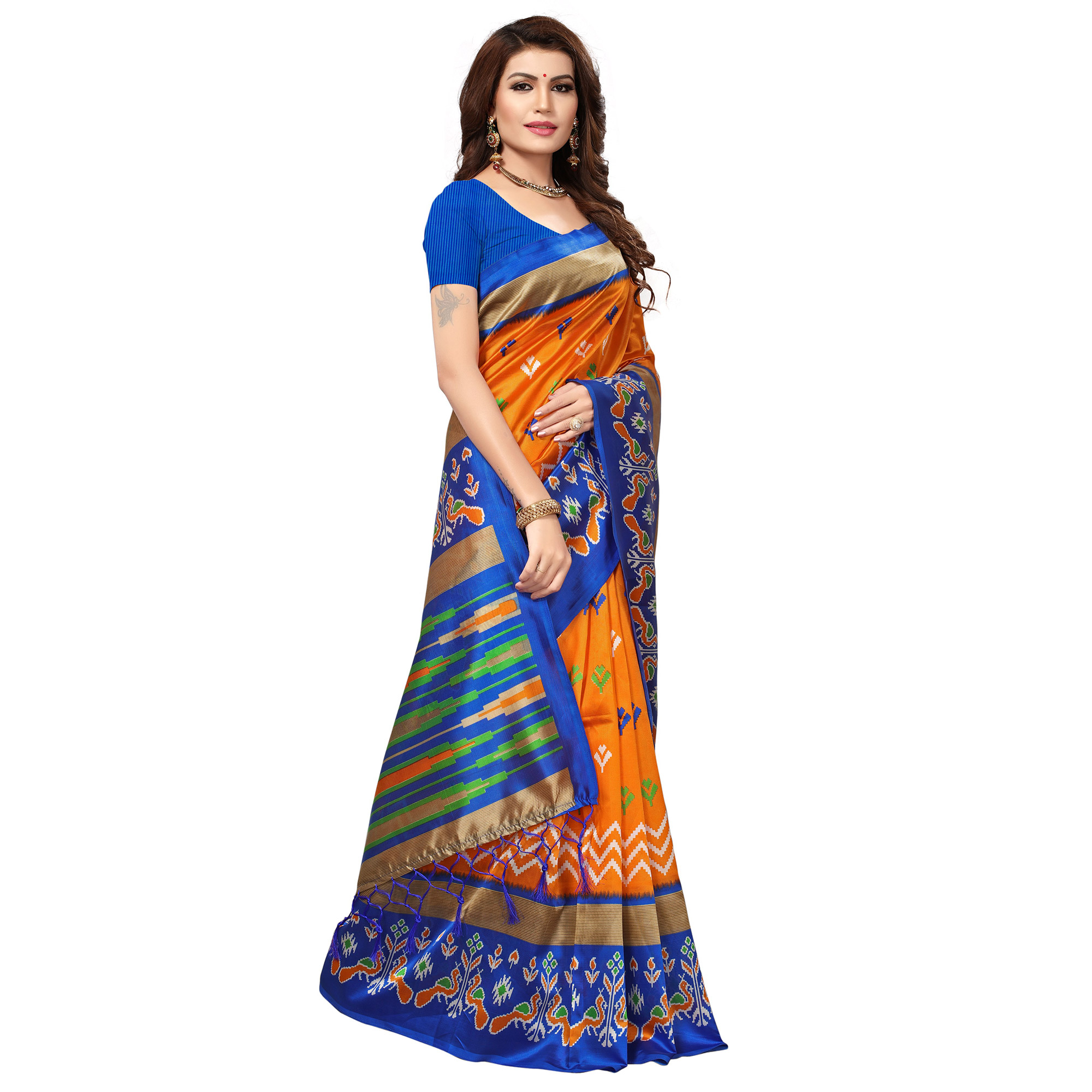 Beautiful Orange-Blue Colored Festive Wear Printed Mysore Art Silk Saree