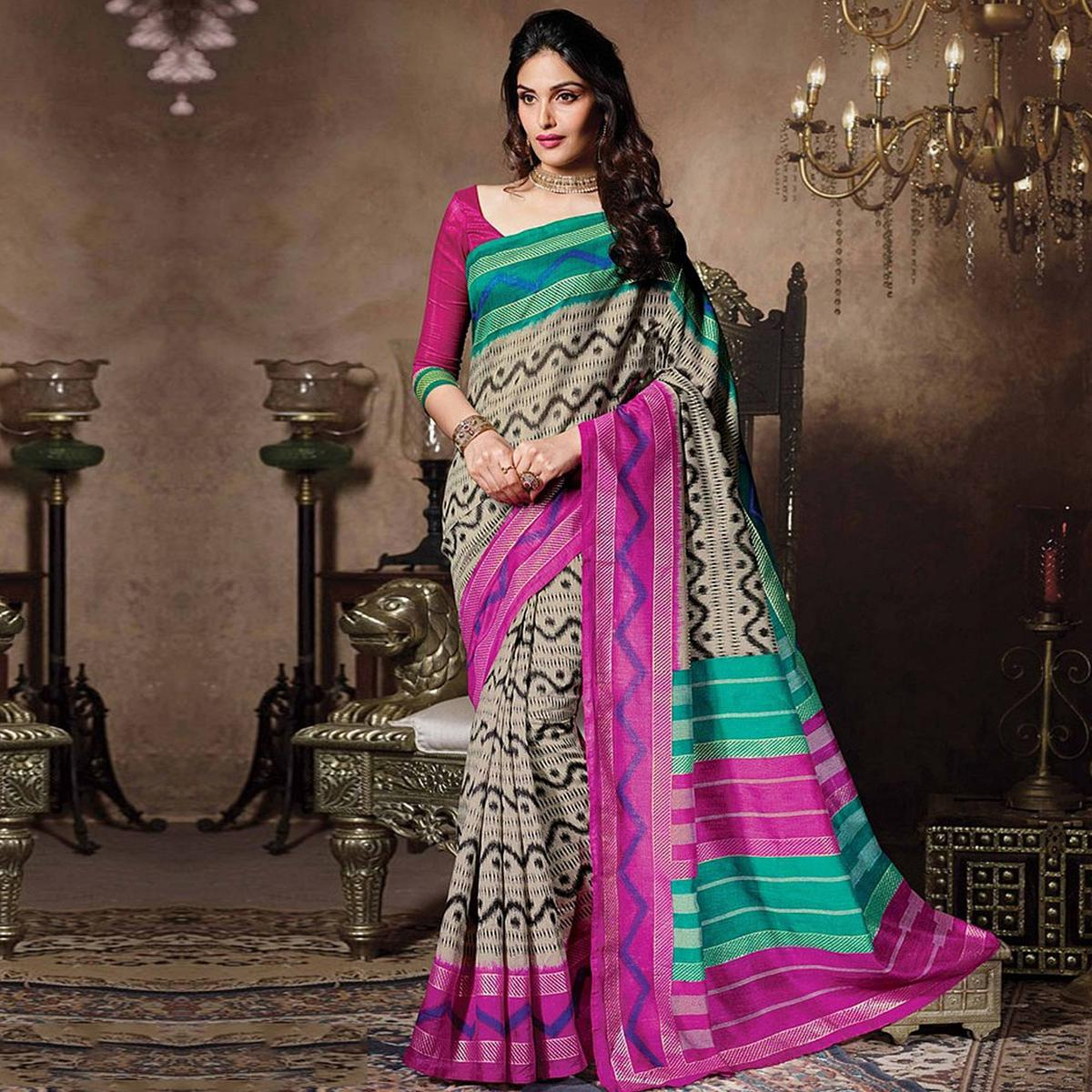 Gray - Pink Bhagalpuri Silk Saree