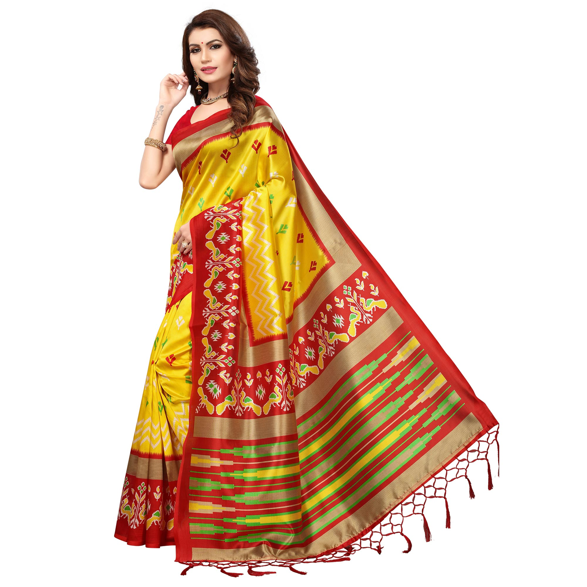Gorgeous Yellow-Red Colored Festive Wear Printed Mysore Art Silk Saree