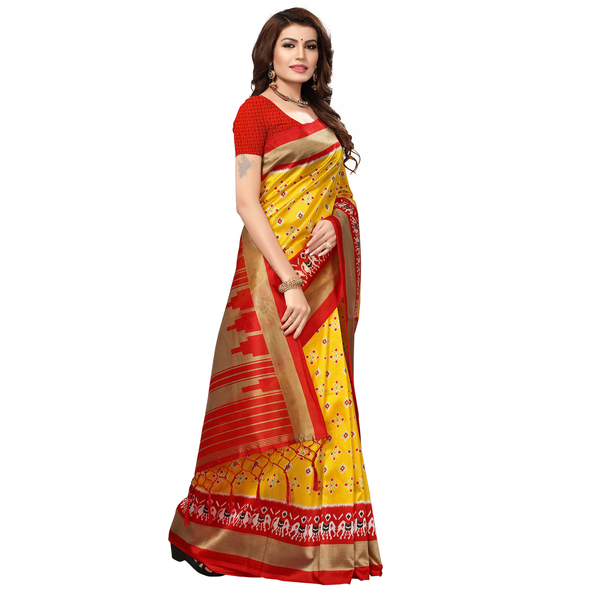 Opulent Yellow-Red Colored Festive Wear Printed Mysore Art Silk Saree