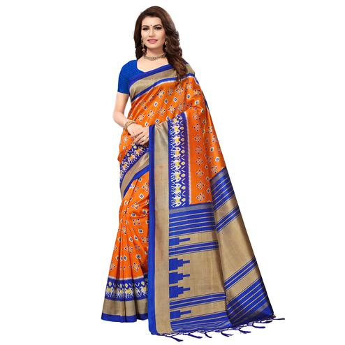 Surpassing Orange-Blue Colored Festive Wear Printed Mysore Art Silk Saree