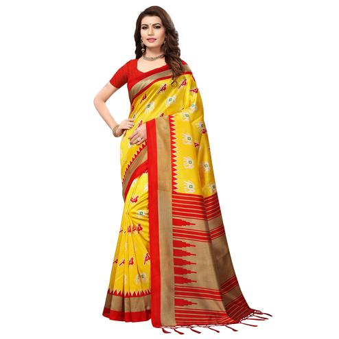 Attractive Yellow-Red Colored Festive Wear Printed Mysore Art Silk Saree