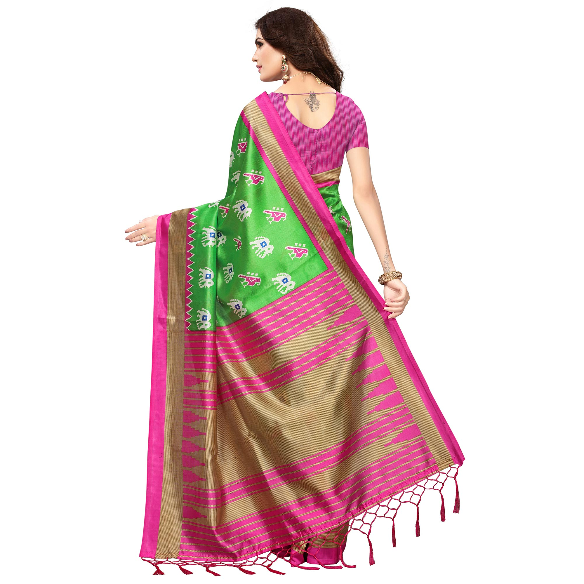 Innovative Green-Pink Colored Festive Wear Printed Mysore Art Silk Saree