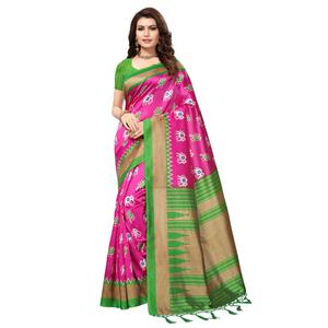 Engrossing Pink-Green Colored Festive Wear Printed Mysore Art Silk Saree