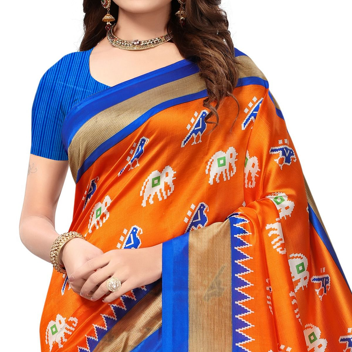 Graceful Orange-Blue Colored Festive Wear Printed Mysore Art Silk Saree