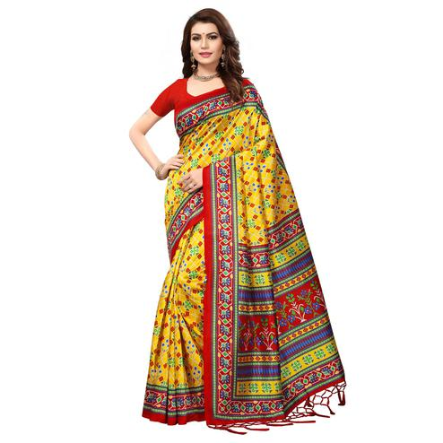 Adorable Yellow Colored Festive Wear Printed Mysore Art Silk Saree