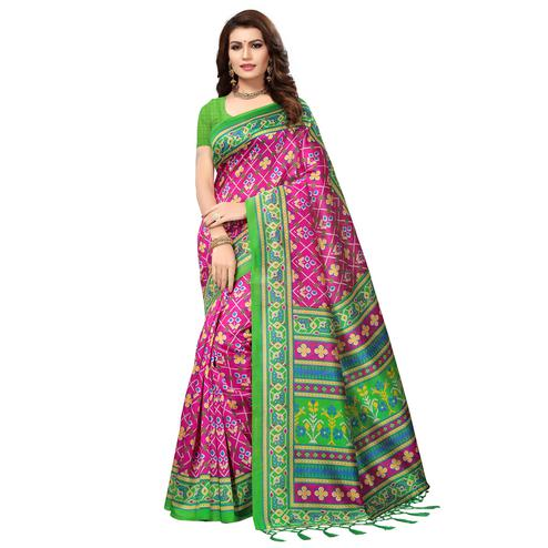 Staring Pink Colored Festive Wear Printed Mysore Art Silk Saree