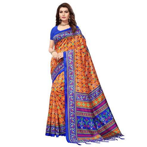 Flattering Orange Colored Festive Wear Printed Mysore Art Silk Saree