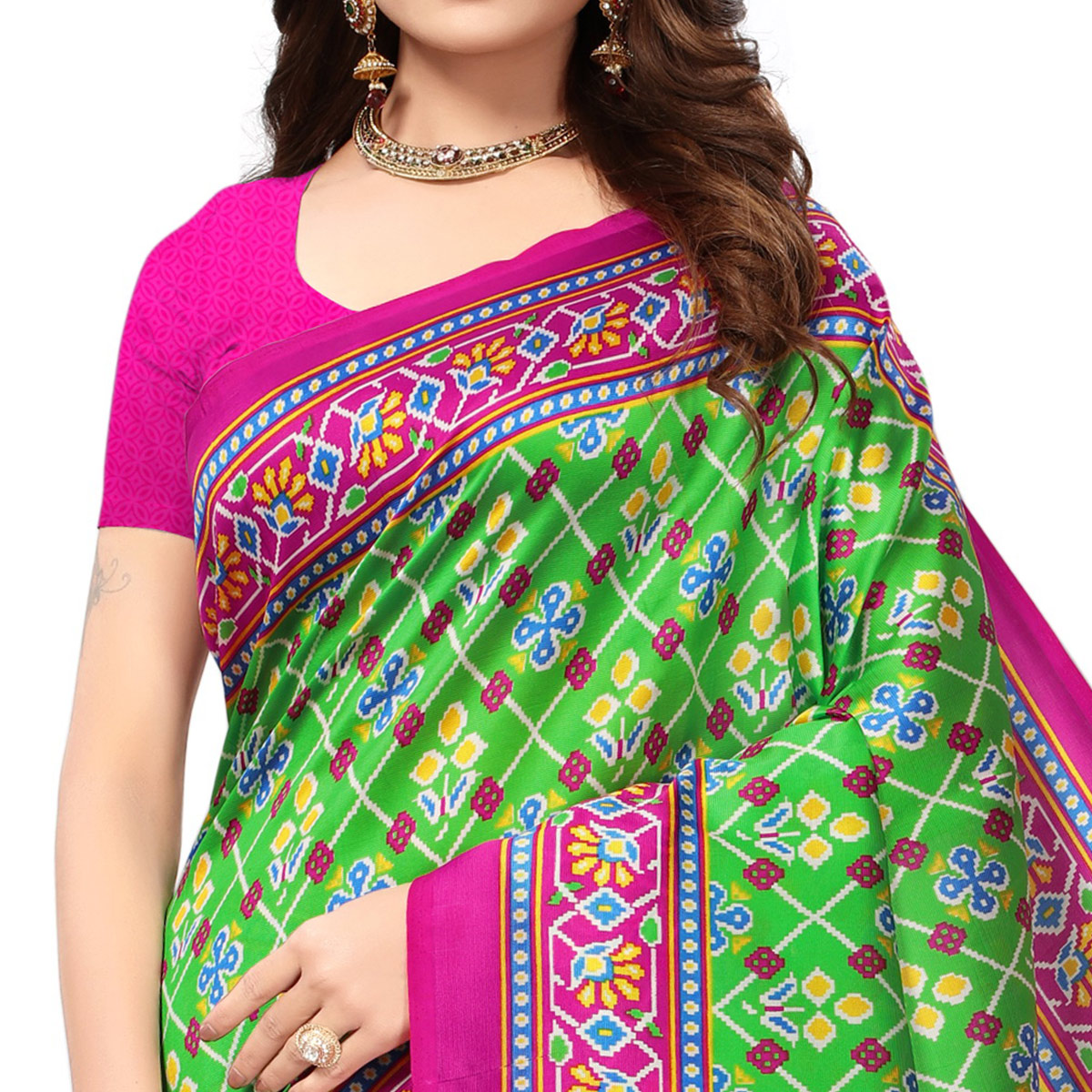 Jazzy Green Colored Festive Wear Printed Mysore Art Silk Saree