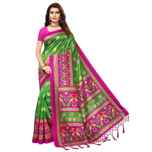 Classy Green-Pink Colored Festive Wear Printed Mysore Art Silk Saree